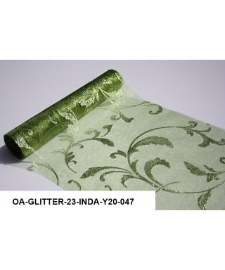 organza glitrová 23,5 cm zelená