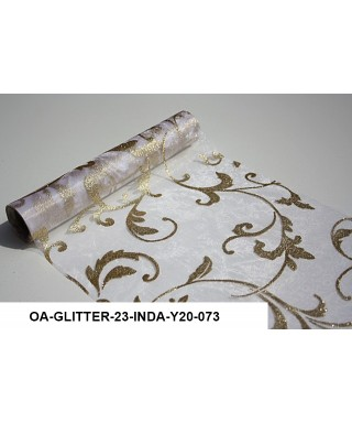 organza glitrová 23,5 cm bielozlatá